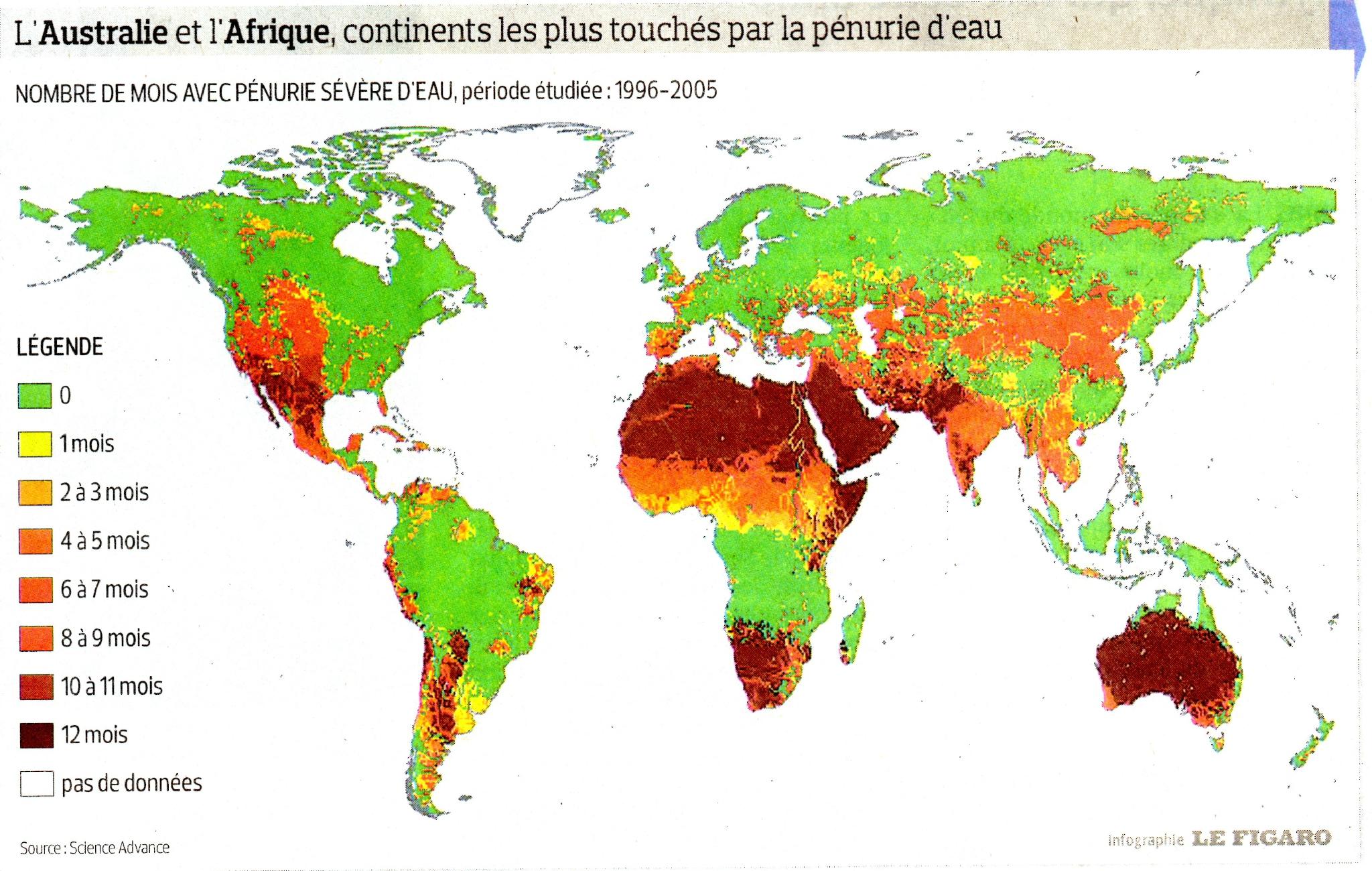 Répartition de l'eau sur Terre